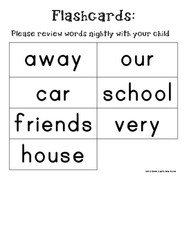 1st Grade Scott Foresman High Frequency Words for Unit 3