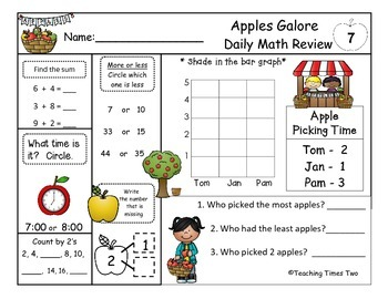 1st Grade September Daily Math Review (Common Core Aligned)