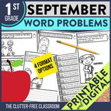 1st Grade September Word Problems printable and digital ma