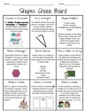 1st Grade Shapes Choice Board