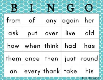 1st Grade Sight Word Bingo