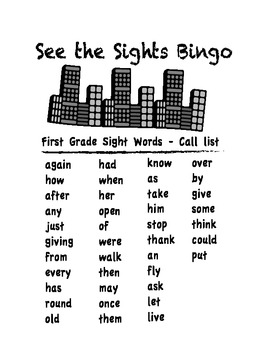 1st Grade Sight Word Bingo - Full Class Set
