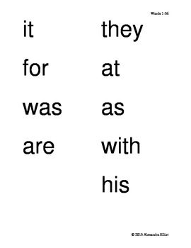 1st Grade Sight Word Bingo Game Set I (Words 1-36)