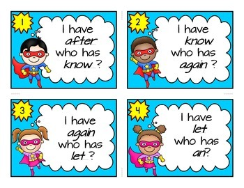1st Grade Dolch Sight Word Cards-Superhero Theme I Have Who Has Game