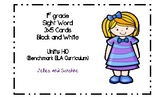 1st Grade Sight Word Cards Unit 1-10 Black and White (Benc