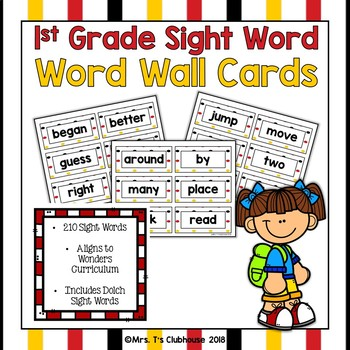 1st Grade Sight Word Cards for Word Wall