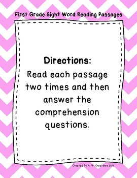 1st Grade Sight Word Fluency Passages with Comprehension Questions FREEBIE