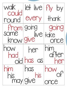 1st Grade Sight Word Memory