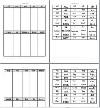 1st Grade Sight Word font discrimination sort