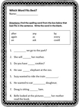 1st Grade Site Words Activity Packet