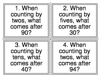 1st Grade Skip Counting Task Cards (2's, 5's, 10's)