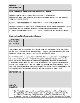 1st Grade Social Studies Lesson Plan - Continents