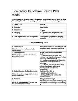 edtpa format lesson 1st grade social studies lesson families