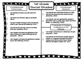 1st Grade Social Studies Missouri Learning Standards I can Statement & Checklist