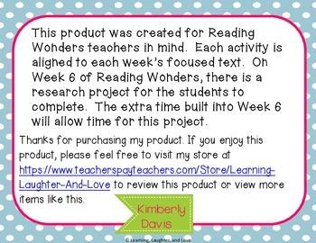 1st Grade Social Studies Reading Wonders Aligned Activities- 1st Nine Weeks