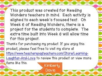 1st Grade Social Studies Reading Wonders Aligned Activities- 4th Nine Weeks
