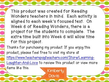 1st Grade Social Studies Reading Wonders Aligned Activities- 4th Nine Weeks