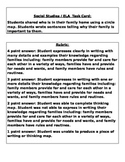 1st Grade Social Studies Rubric and Task Card for Unit 1 Families