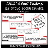 """1st Grade Social Studies TEKS """"I Can"""" Statement Cards (Half Page)"""