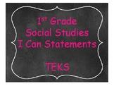 1st Grade Social Studies TEKS I Can Statements Chalkboard Theme