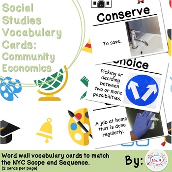 1st Grade Social Studies Vocabulary Cards: Community Economics (Large)