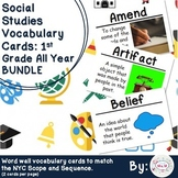 1st Grade Social Studies Vocabulary Cards: All Year Bundle (Large)