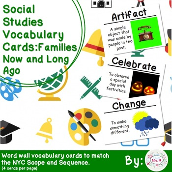 1st Grade Social Studies Vocabulary Cards: Families, Now and Long Ago