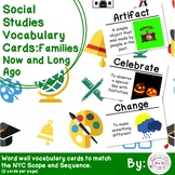 1st Grade Social Studies Vocabulary Cards: Families, Now and Long Ago (Large)