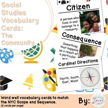 1st Grade Social Studies Vocabulary Cards: Families in Com