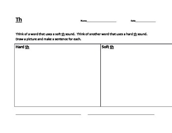 1st Grade Soft th and Hard th sounds worksheet