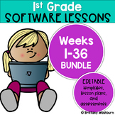 1st Grade Technology Lessons Spiral Review Bundle