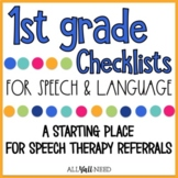 1st Grade Speech and Language Checklists