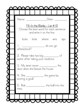 1st Grade Spelling For the Whole Year - Fill-In the Blanks