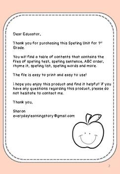 1st Grade Spelling List, Assessment, & Activities
