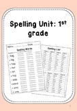 1st Grade Spelling List, Assessment, & Activities