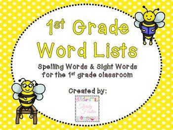 1st Grade Spelling Lists