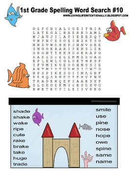 1st Grade Spelling Word Review - Word Searches