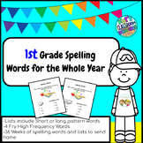 1st Grade Spelling Words lists for the whole year.Word pattern and HFW