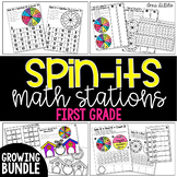 1st Grade Spin-Its Math Stations Yearlong GROWING Bundle -