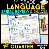 1st Grade Language Arts Spiral Review | Grammar Review | 1st Quarter