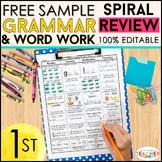 1st Grade Language Arts Spiral Review | 2 Weeks FREE
