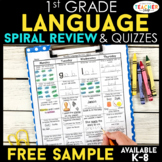 1st Grade Language Arts Spiral Review | 2 Weeks FREE