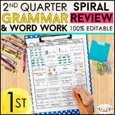 1st Grade Language Arts Spiral Review | Grammar Review | 2nd Quarter