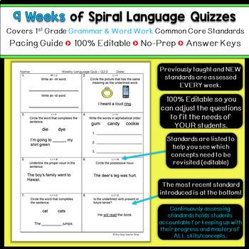 1st Grade Language Spiral Review | 1st Grade Grammar Practice | 3rd Quarter