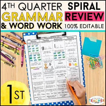 1st Grade Language Spiral Review | 1st Grade Grammar Practice | 4th Quarter
