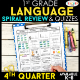 1st Grade Language Arts Spiral Review | Grammar Review | 4th Quarter