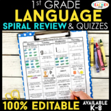 1st Grade Language Spiral Review | Distance Learning Packet | 1st Grade Grammar