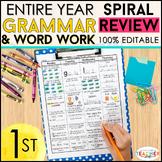 1st Grade Language Spiral Review & Quizzes | Grammar Homework or Morning Work
