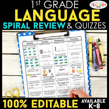 1st Grade Spiral Review & Quiz BUNDLE   Math & Language   ENTIRE YEAR!