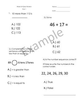 1st Grade Spiral Review - Weeks 33-36